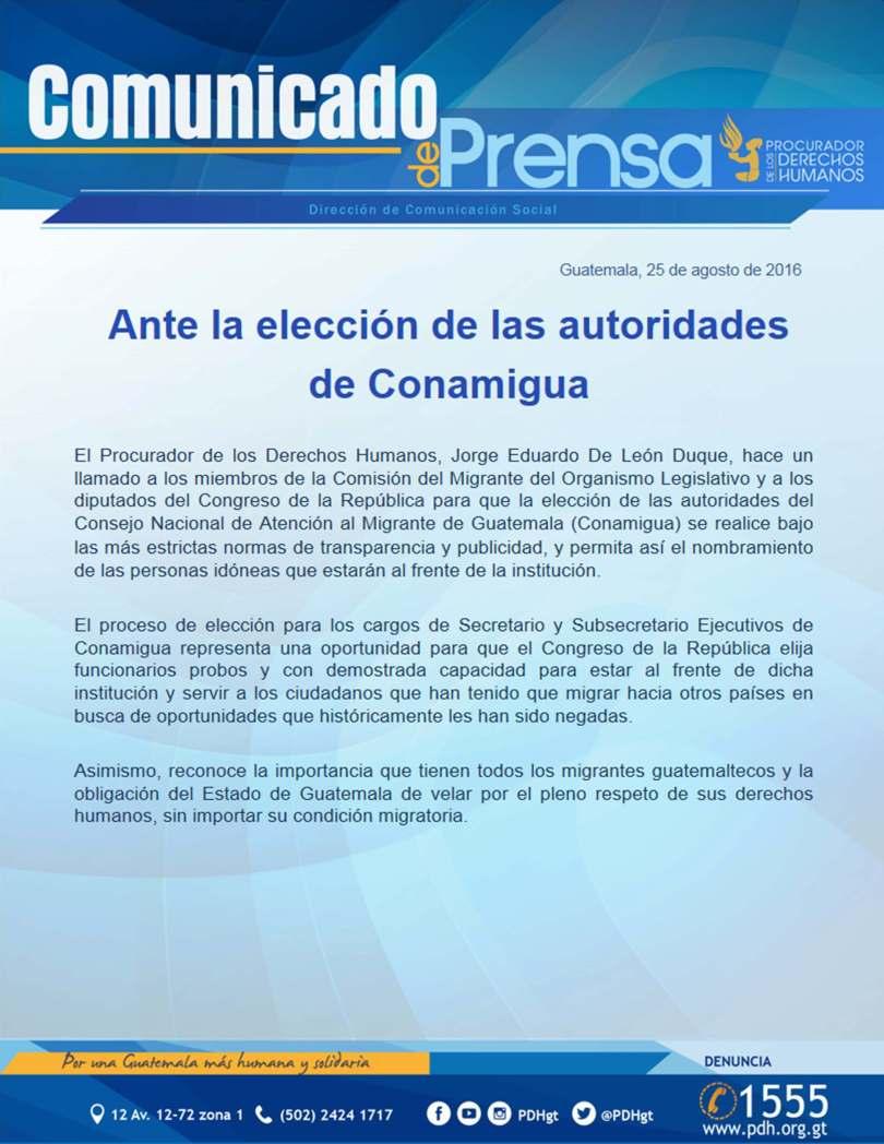 COMUNICADO CONAMIGUA PDH