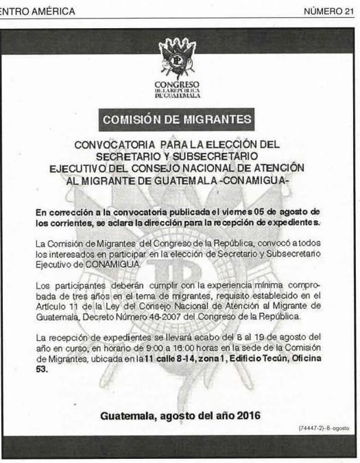Convocatoria Comisión Migrante agosto 2016